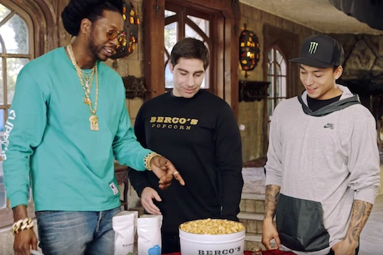 Nyjah Huston Eats 23-Karat Gold Popcorn With 2 Chainz