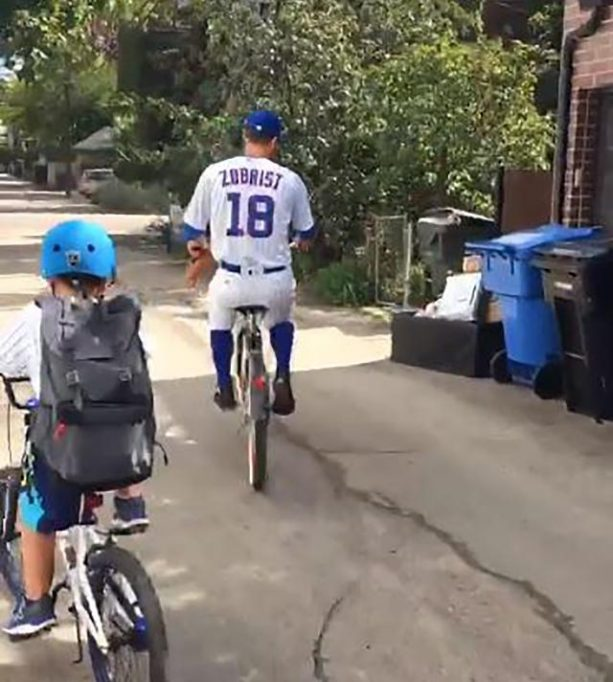 Cubs Player Rides His Bike to Work