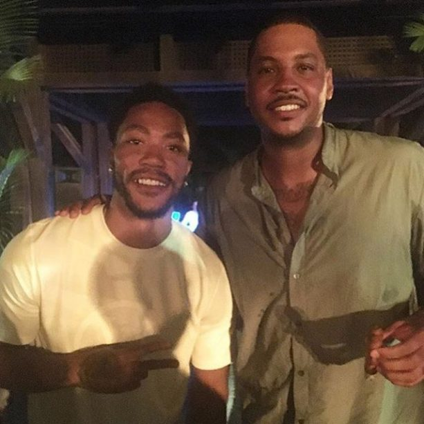 Derrick Rose and Carmelo Anthony Buddy Up in PR
