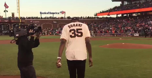 Kevin Durant Throws Out The First Pitch For Giants