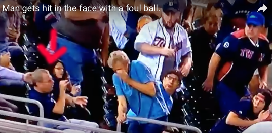 Fan Takes Line Drive To The Face