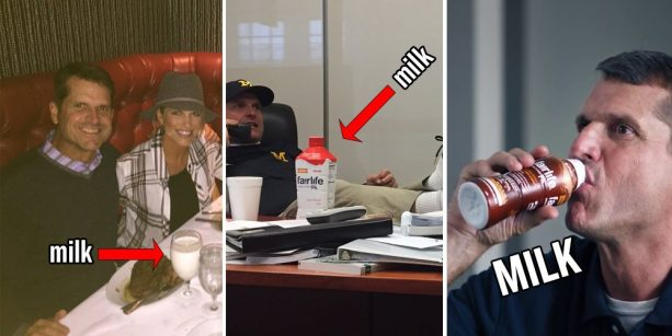 Jim Harbaugh Likes his Milk with a Big Ole Steak