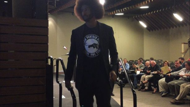 Colin Kaepernick Wear Black Panther Shirt, Gift From Girlfriend