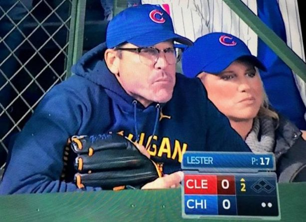 Jim Harbaugh Brought his Big Boy Glove to the World Series