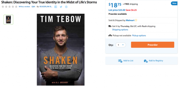 "Tim Tebow's Book ""Shaken"" Hits Stores Soon"