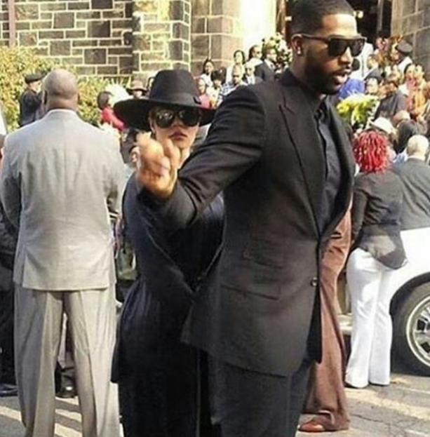 Tristan Thompson & Khloe AT Funeral In The Hood