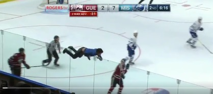 A guy climbed the Boards and Ran onto the Ice