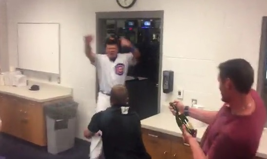 Kyle Schwarber got a Champagne Shower in Arizona