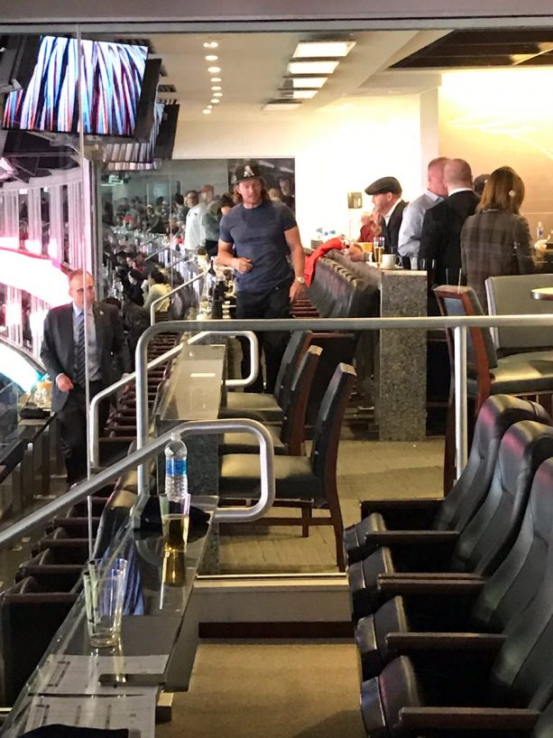 Mark Wahlberg Drinking Wine at Pats Game