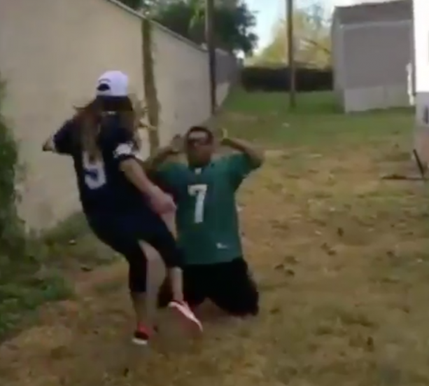 Eagles Fan Takes Kick To The Nuts After Losing Bet With Wife
