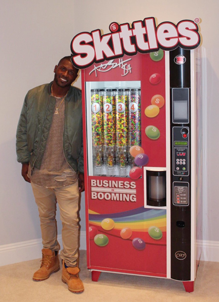 Antonio Brown Receives Skittles Vending Machine