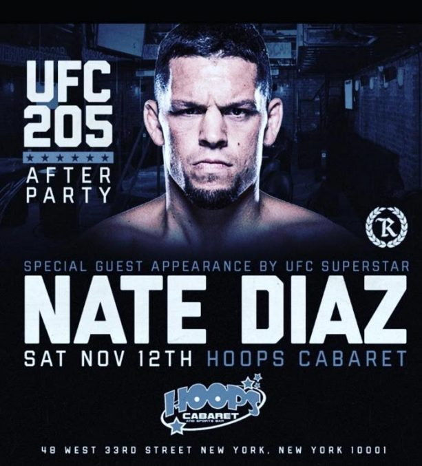 MMA Superstar Nate Diaz Hosts After Party at Strip Club