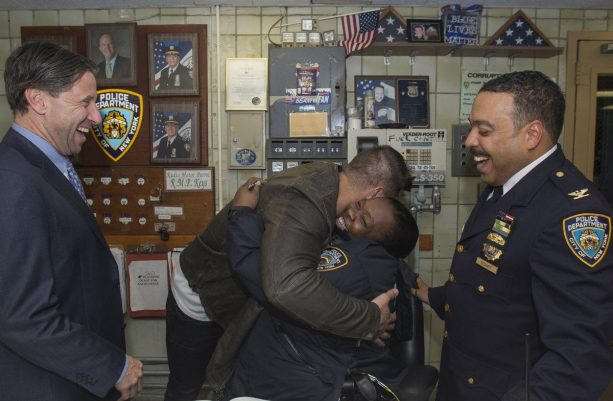 Fake Baseball Player Tim Tebow on Parade at the 105th Precinct