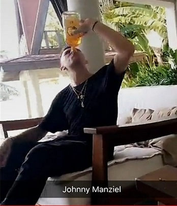 Johnny Manziel Chuggin Fireball At 8AM