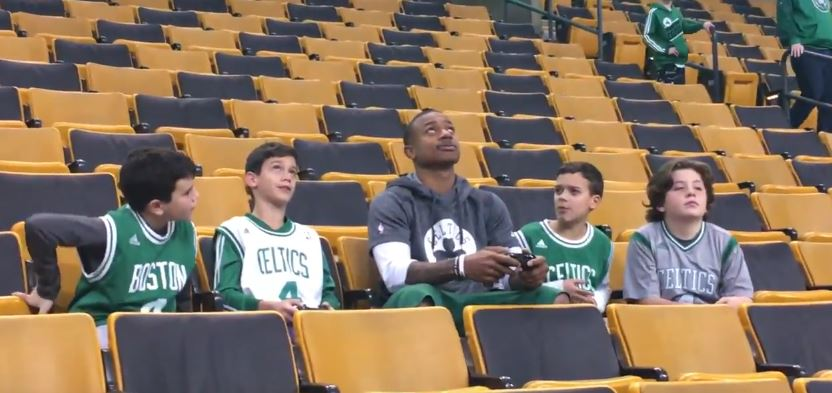 Isaiah Thomas Played NBA 2K17 On The Jumbotron With A Young Fan