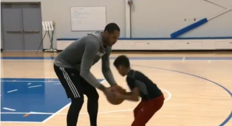 Melo Teaches his Son how to Perform Jab Steps