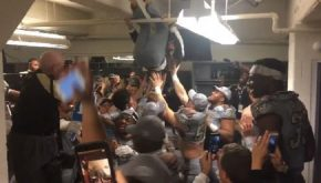 Western Michigan's Head Coach Hung From The Water Pipes After MAC Championship Win