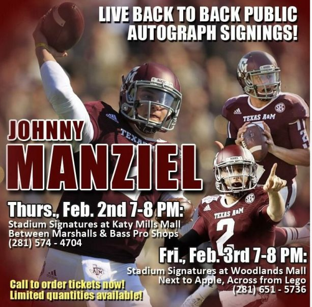 Johnny Manziel Selling Selfie's For $50