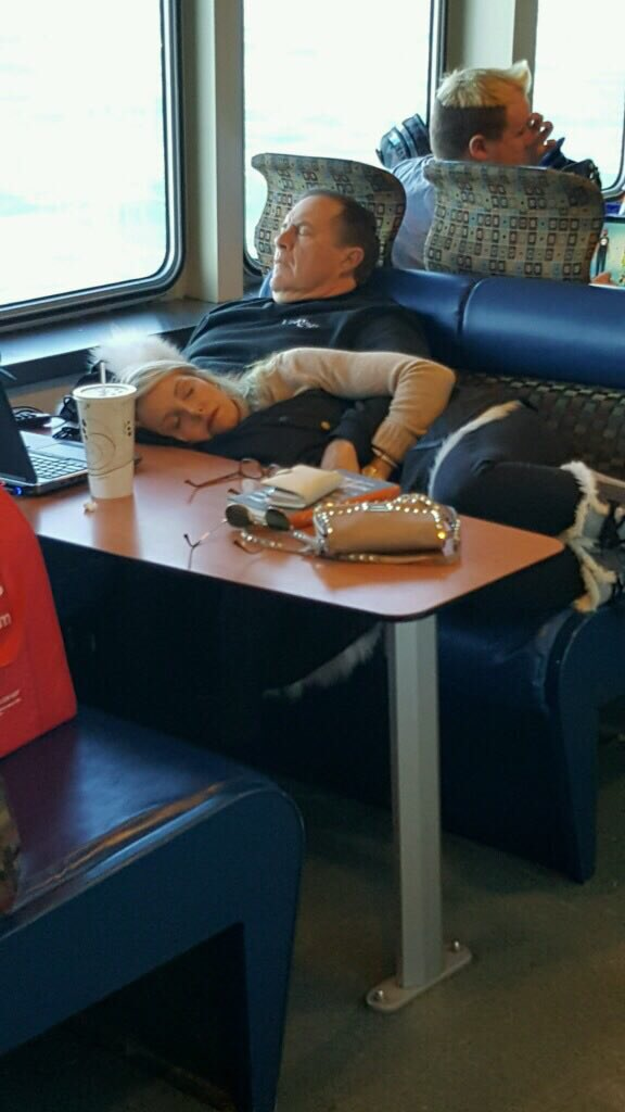 Pats Fan Shuts Down ESPN After Belichick Napping on a Ferry Pic Surfaces