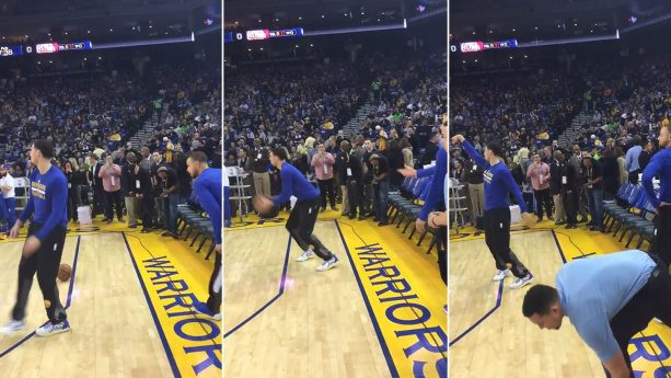 Klay Thompson Steals Steph Curry's Ball During his Pregame Ritual