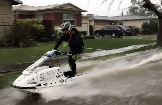 Jet Skier Hits The Flooded Streets