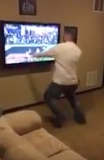 Angry Alabama Fan Punches His TV & Breaks It After Clemson Wins