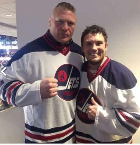 Brock Lesnar Checksout Winnipeg Jets Game