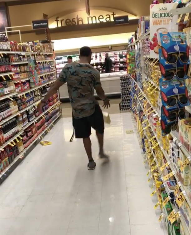 Marquette King Getting Some Practice In At Grocery Store