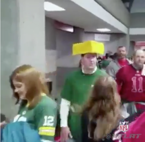 Falcons Fan Has Some Fun With Cheese Heads
