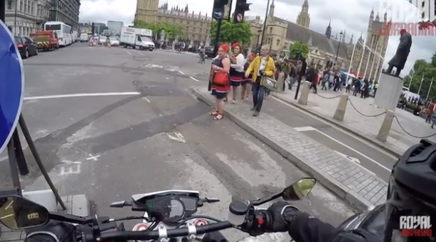 Motorcyclist Has Some Fun With Jaywalkers