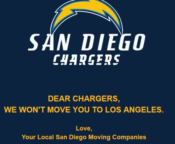 Over 26 different Local Movers are Refusing to help Chargers move to Los Angeles