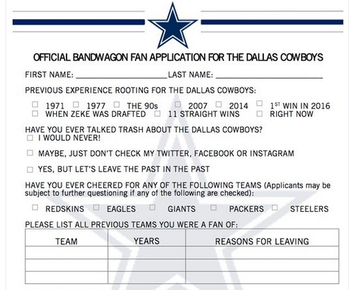 Dallas Cowboys Release Official Bandwagon Fan Application Form