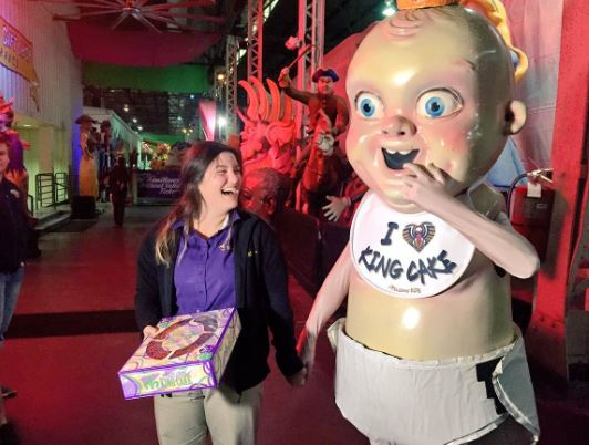 The Pelicans' King Cake Baby is back and Making Deliveries