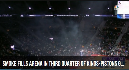 Smoke Fills Arena During the Game