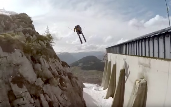 Skiier Does Massive Double Backflip Between Rocks