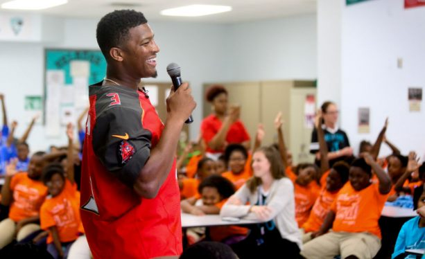 Jameis Winston Blasted for Poor Word Choice at Elementary School Pep Talk