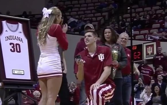 Indiana Basketball Player Proposed To His Cheerleader Girlfriend On Senior Night