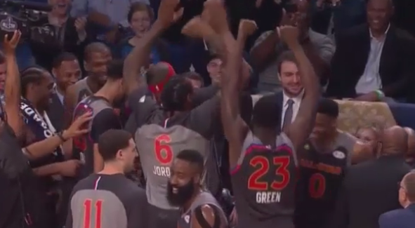KD and Russell Westbrook's Western Conference Teammates Celebrate Their Alley-Oop