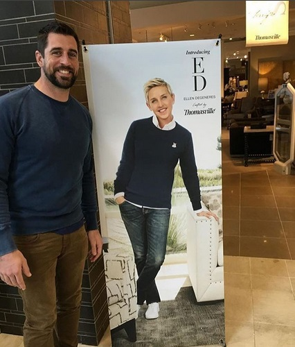 Aaron Rodgers Supports Ellen's New Furniture Line