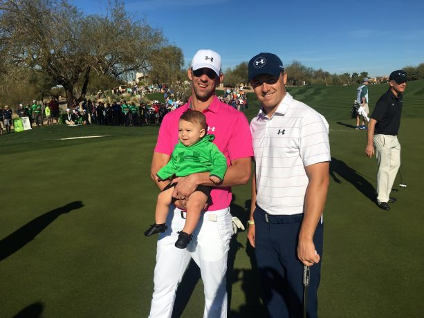 Phelps and Son Swagged out in UA with Jordan Spieth