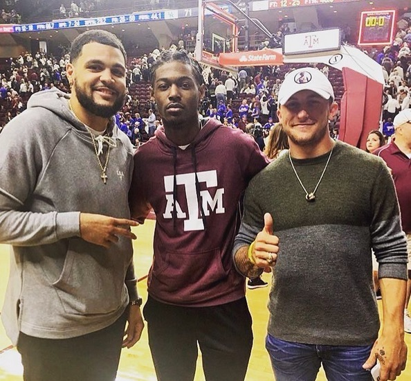 Johnny Manziel Hanging at his Alma Mater