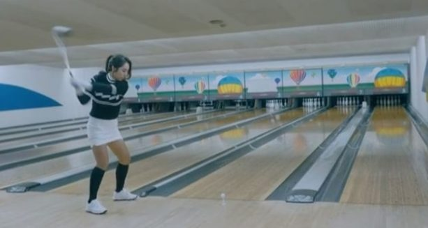 Golfer Shows off her Bowling Skills