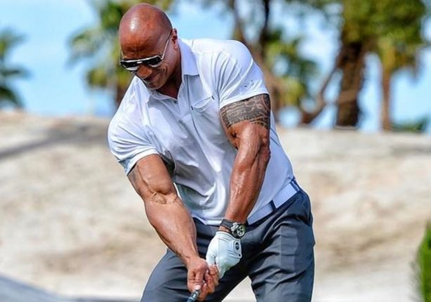 The Rock Swinging a Golf Club is Magical