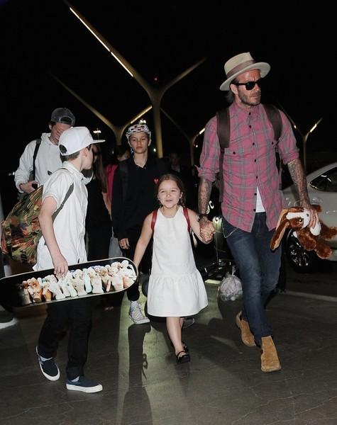David Beckham & Children Spotted At LAX
