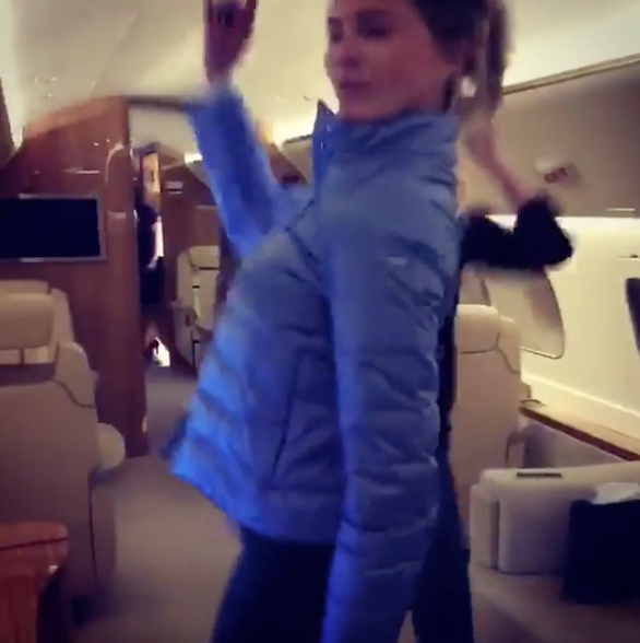 Janet Gretzky Looking Hot Dancing On A Private Jet