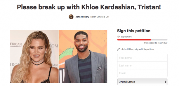 Cavs Fan Makes Petition For Tristan Thompson To Break Up With Khloe Kardashian