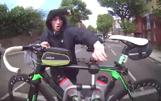 A Cyclist Is Captured Trying To Steal A Racing Bike In London