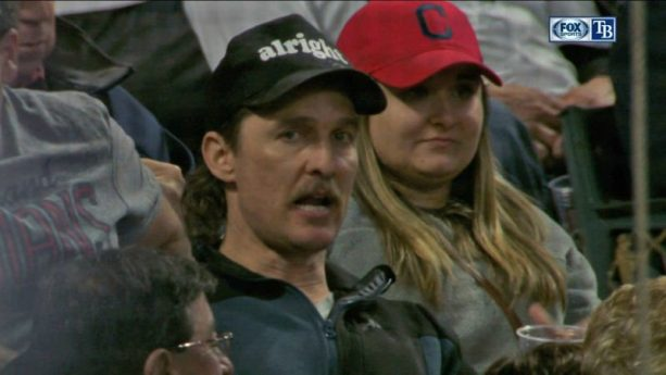 Matthew McConaughey Dazed and Confused at Indians Game