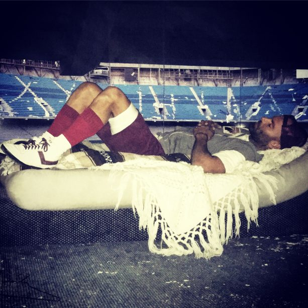 """Former NFL Punter Kickstarting feature film """"SILVERDOME"""" sleeps in the Abandoned Pontiac Silverdome during filming."""