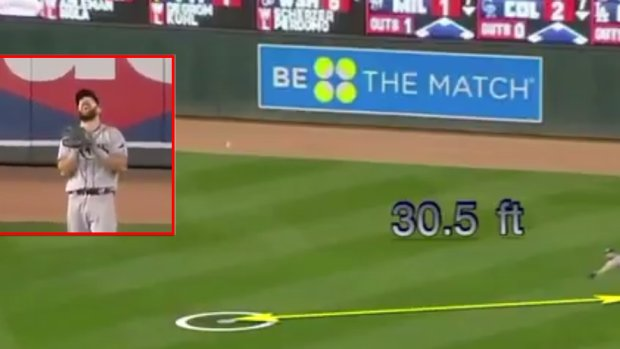 Baseball Player Dives For A Ball 30 Feet Away From Him